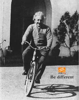 Albert Einstein on his bike
