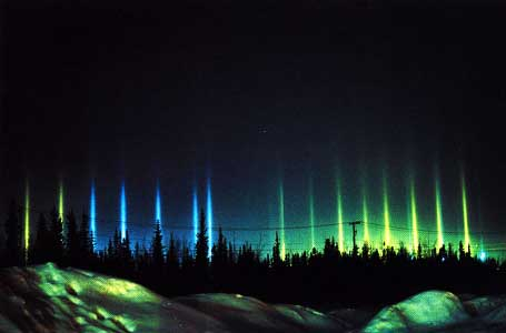 Aurora Pillars along Electrical Transmission Towers