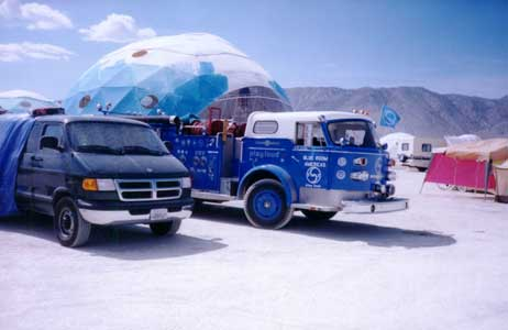 Burning Man 98 - Blue Room Bucky Dome and Fire Truck