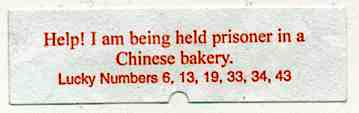 Fortune Cookie - Help! prisoner in chinese bakery
