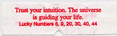 fortune cookie - trust your intuition...