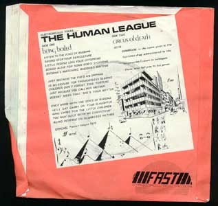 Human League - Being Boiled/Circus Of Death 7inch back sleeve