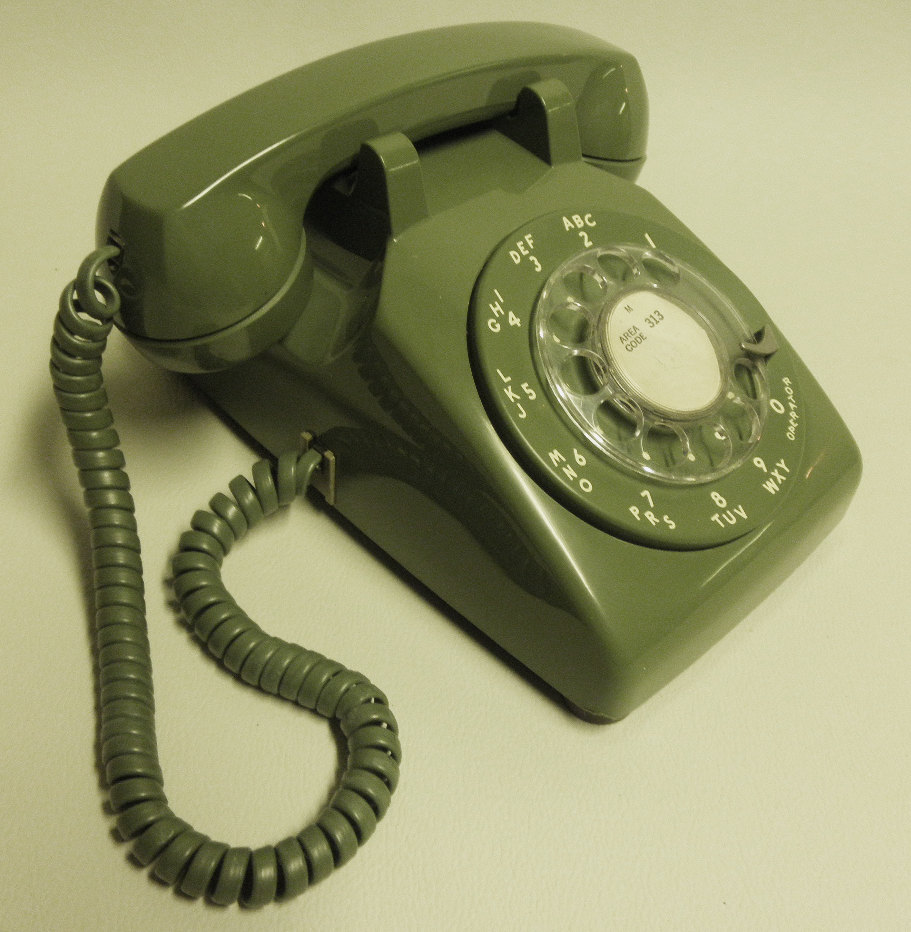 Bell ubquitious olive green rotary phone