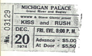 Rush Kiss 1974 ticket stub