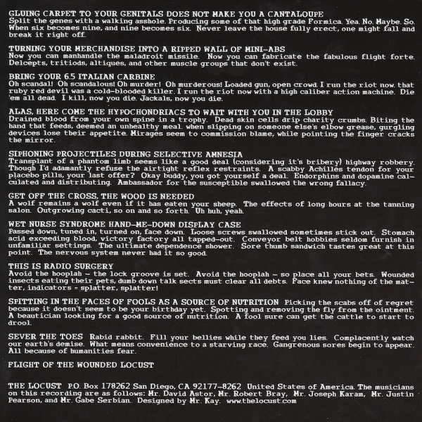 The Locust - flight of the wounded locust lyrics insert